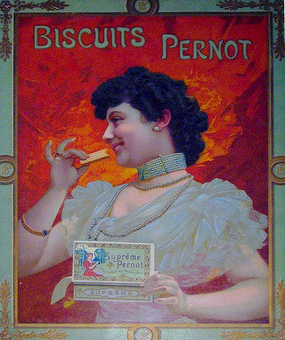 1910s French Art Nouveau Poster Biscuit Pernot Advertisement  Drawing