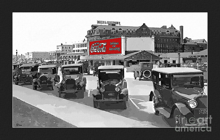 1924 Vintage Automobiles Parked At Atlantic City Photograph  - 1924 Vintage Automobiles Parked At Atlantic City Fine Art Print