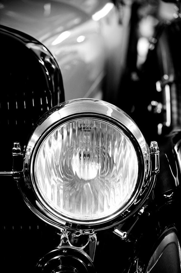 1925 Lincoln Town Car Headlight Photograph