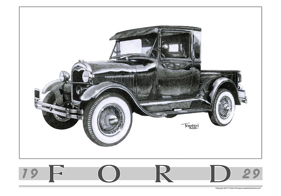 1929 model a pickup drawing by trenton hill