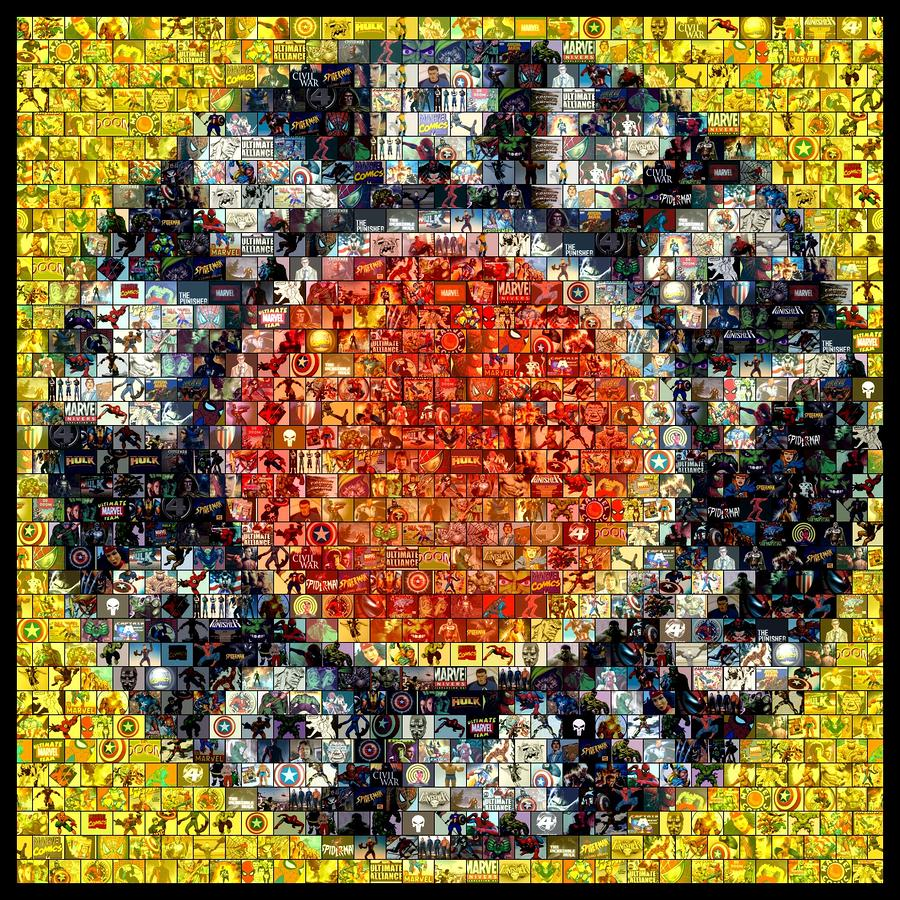 1930s Marvel Comics Mosaic Digital Art  - 1930s Marvel Comics Mosaic Fine Art Print