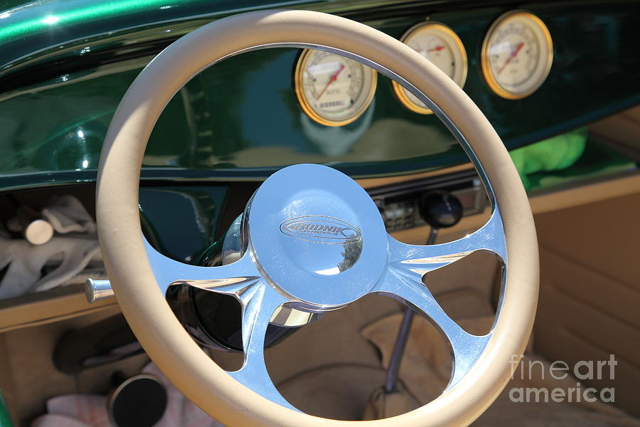 1932 Ford Roadster Steering Wheel And Guages . 5d16176 Photograph
