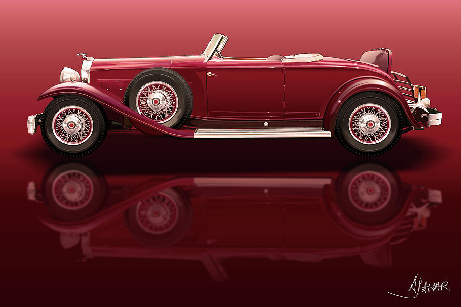 1932 Packard 904 Roadster Digital Art  - 1932 Packard 904 Roadster Fine Art Print