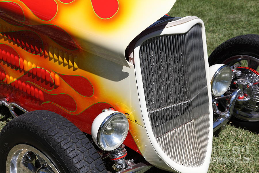 1933 Ford Roadster With Flames . 5d16237 Photograph