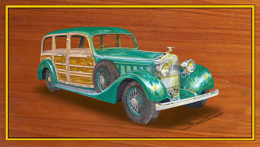 1934 Hispanosuzia Shooting Brake Painting  - 1934 Hispanosuzia Shooting Brake Fine Art Print