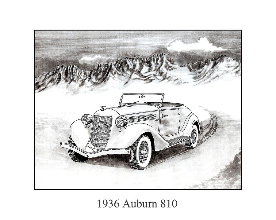 Framed Pen And Ink Images Of Classic Auburn Cars. Pen And Ink Drawings Of Vintage Classic Cars. Black And White Drawings Of Cars From The 1930's Drawing - 1936 Auburn 810 by Jack Pumphrey