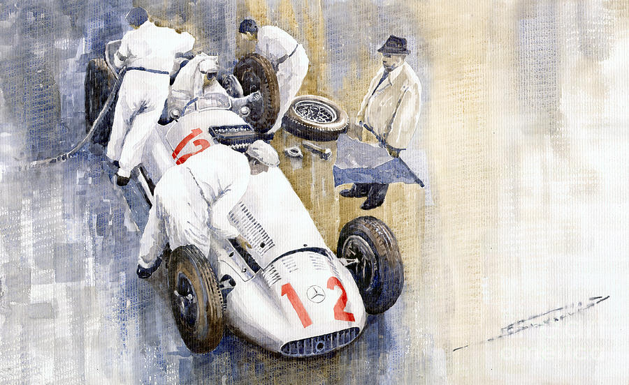 1939 German Gp Mb W154 Rudolf Caracciola Winner Painting  - 1939 German Gp Mb W154 Rudolf Caracciola Winner Fine Art Print