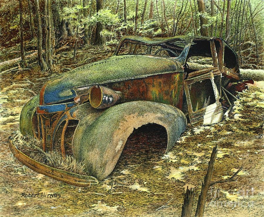 Abandoned Car Painting - 1939 Pontiac by Robert Hinves