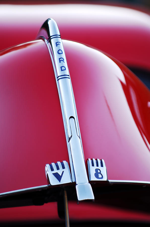 1940 Ford V8 Hood Ornament Photograph  - 1940 Ford V8 Hood Ornament Fine Art Print
