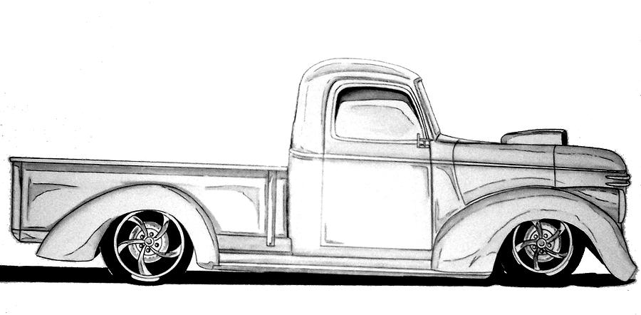 1941 Hotrod Drawing by Nathan Miller - 1941 Hotrod Fine Art Prints    Lowrider Chevy Truck Drawings