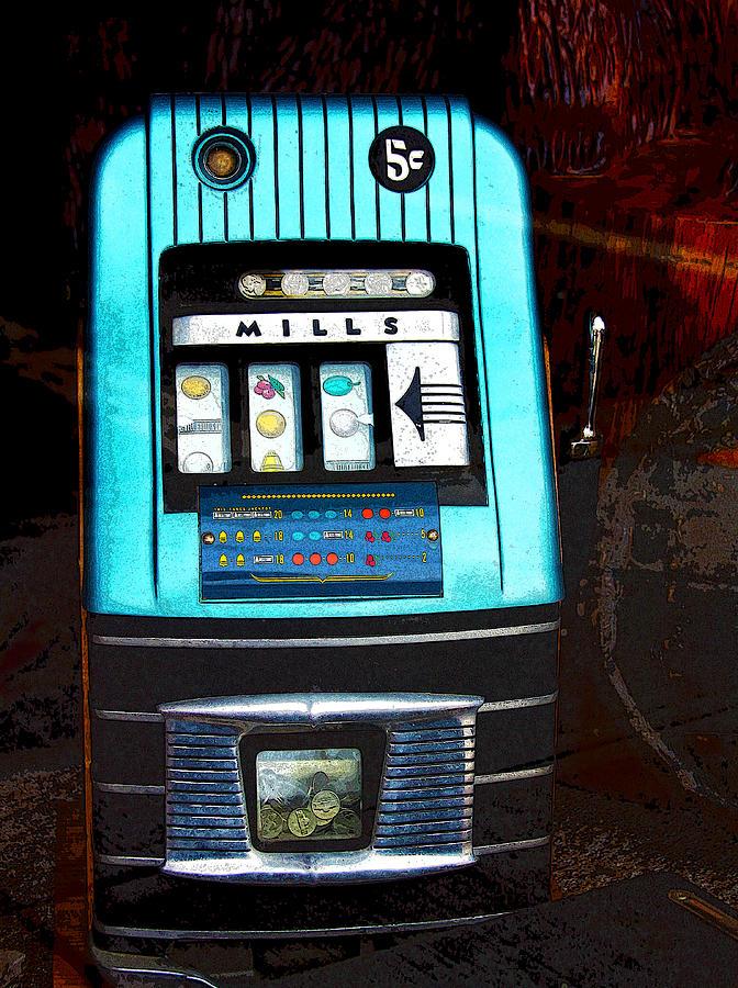 1945 Mills High Top 5 Cent Nickel Slot Machine Photograph