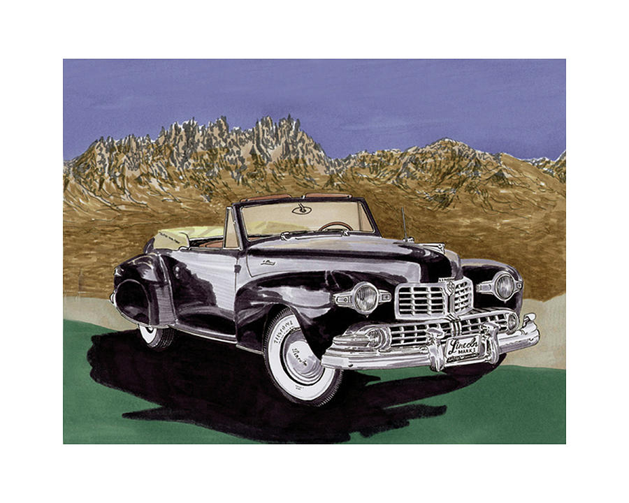 1947 Lincoln Continental Mk I Painting  - 1947 Lincoln Continental Mk I Fine Art Print