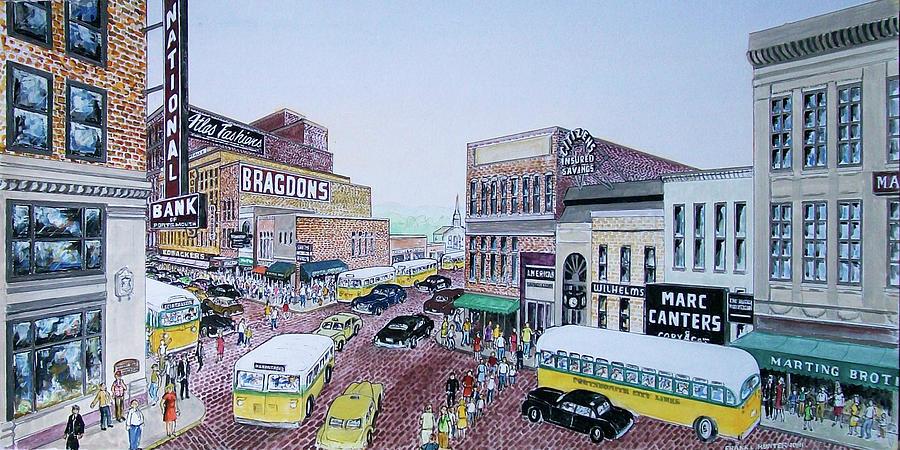 1948 Rush Hour Portsmouth Ohio Painting
