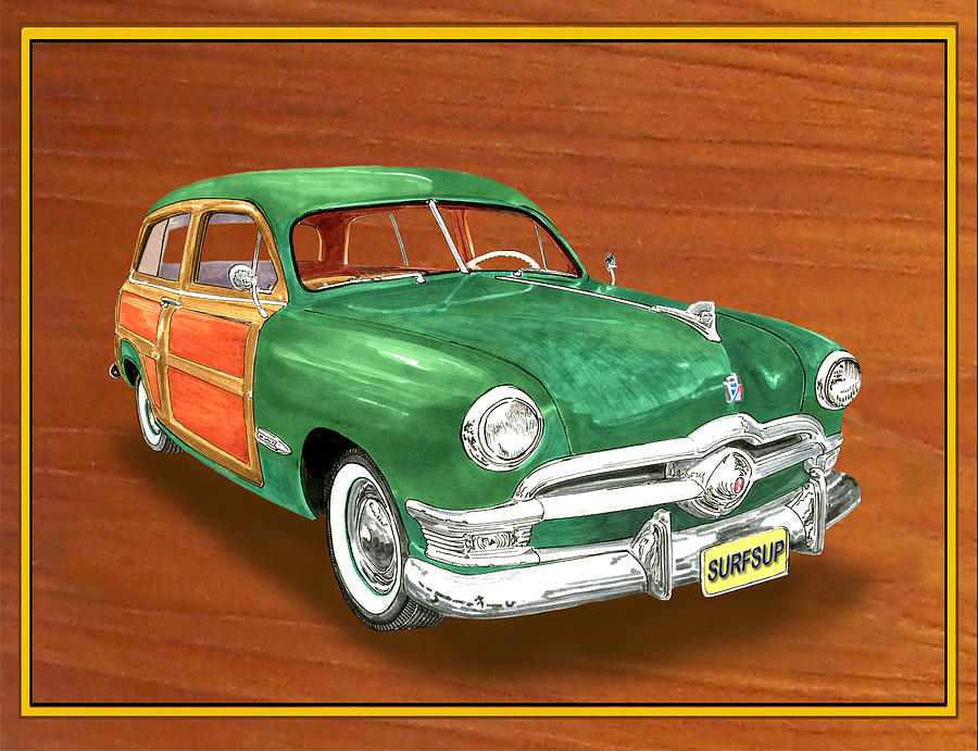 1950 Ford Country Squire Woody Painting  - 1950 Ford Country Squire Woody Fine Art Print