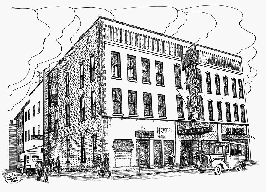 1950 Grand Central Hotel Brockville Drawing  - 1950 Grand Central Hotel Brockville Fine Art Print
