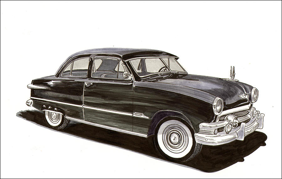 1951 Ford 2 Dr Sedan Painting  - 1951 Ford 2 Dr Sedan Fine Art Print