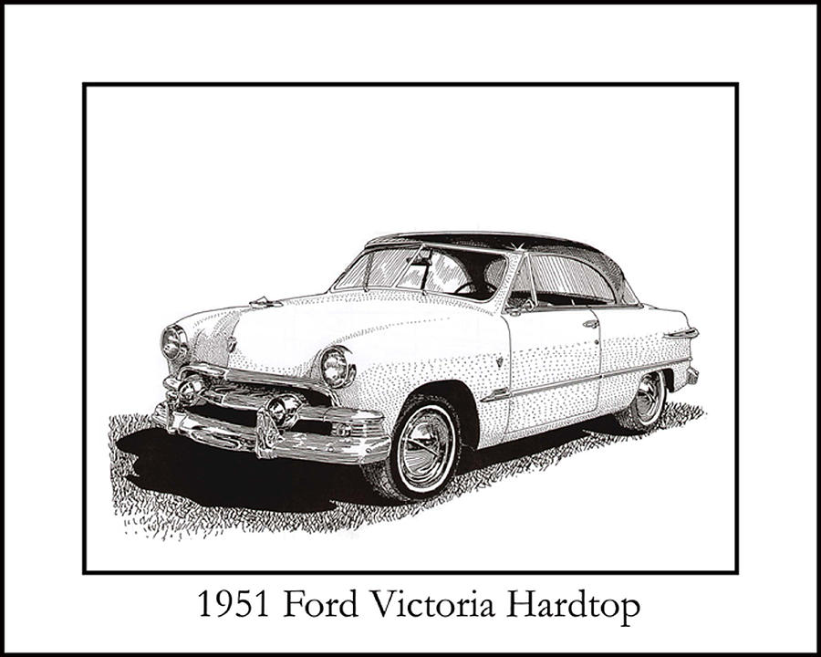 Framed Pen And Ink Images Of Classic 191 Ford Cars. Pen And Ink Drawings Of Vintage Classic Cars. Black And White Drawings Of Cars From The 1930's Drawing - 1951 Ford Victoria Hardtop by Jack Pumphrey