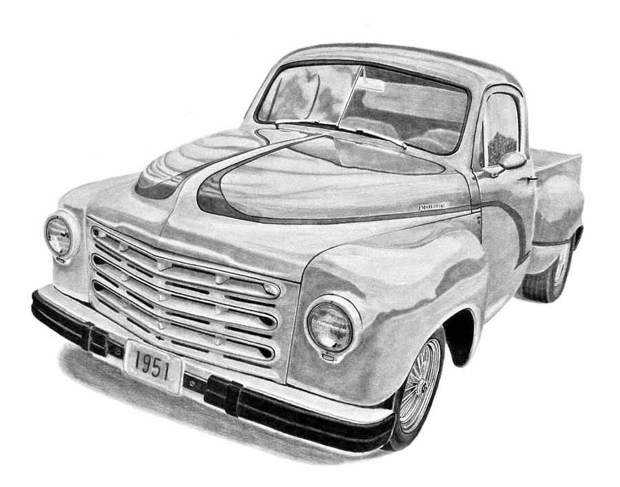 1951 Studebaker Pickup Truck Drawing