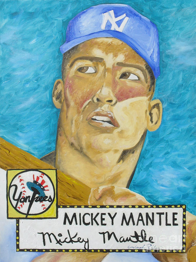 1952 Mickey Mantle Rookie Card Original Painting Painting