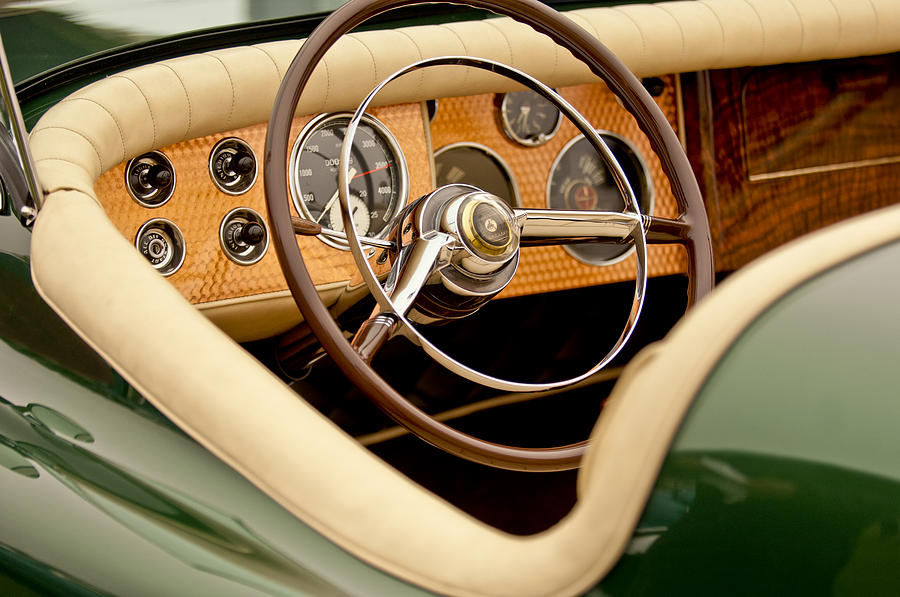 1952 Sterling Gladwin Maverick Sportster Steering Wheel Photograph  - 1952 Sterling Gladwin Maverick Sportster Steering Wheel Fine Art Print