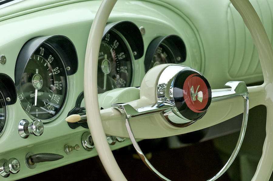 1954 Kaiser Darrin Steering Wheel Photograph  - 1954 Kaiser Darrin Steering Wheel Fine Art Print