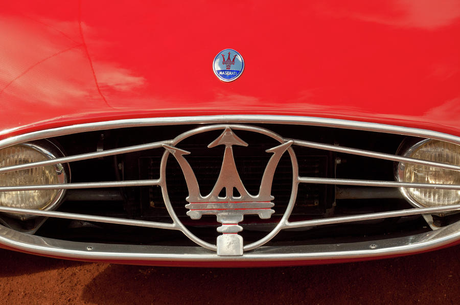 1954 Maserati A6 Gcs Hood Emblem Photograph  - 1954 Maserati A6 Gcs Hood Emblem Fine Art Print