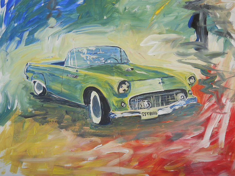 1955 Green Tbird Painting