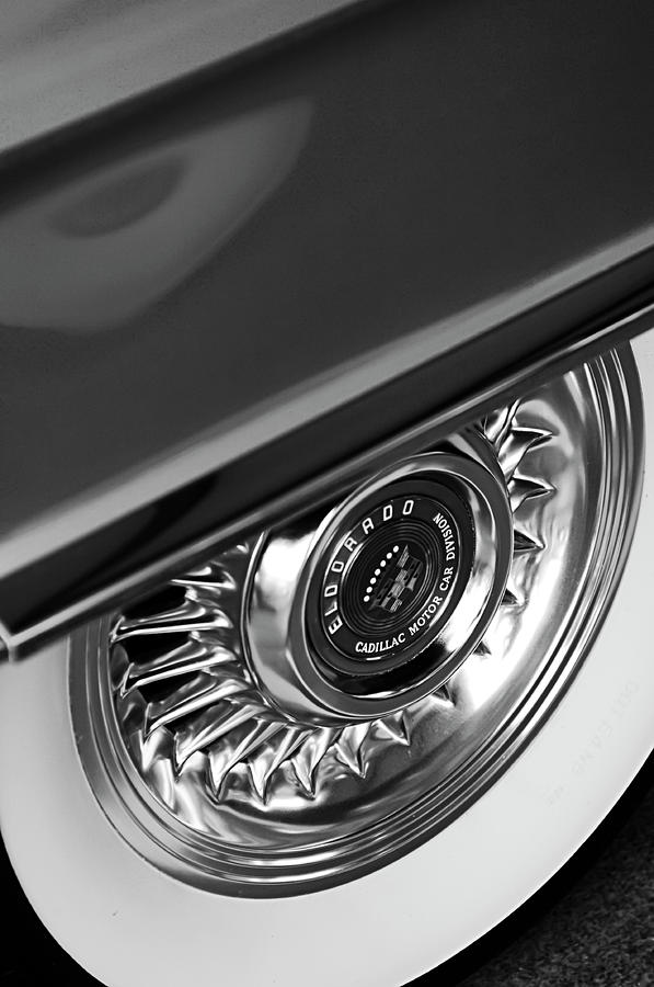 1956 Cadillac Eldorado Wheel Black And White Photograph