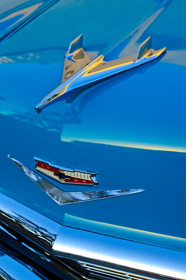 1956 Chevrolet Hood Ornament 4 Photograph  - 1956 Chevrolet Hood Ornament 4 Fine Art Print