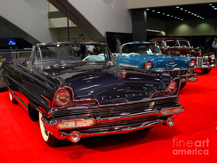Transportation Photograph - 1956 Lincoln Premiere Convertible . Blue . 7d9244 by Wingsdomain Art and Photography