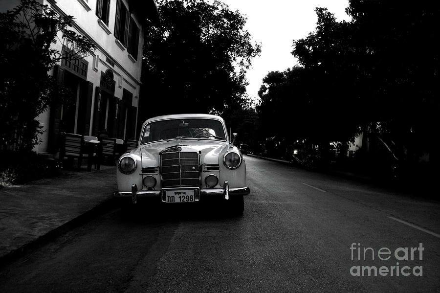 1957 Mercedes Sedan In Luang Prabang Laos Photograph  - 1957 Mercedes Sedan In Luang Prabang Laos Fine Art Print