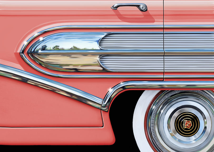 1958 Buick Side Chrome Bullet Digital Art  - 1958 Buick Side Chrome Bullet Fine Art Print