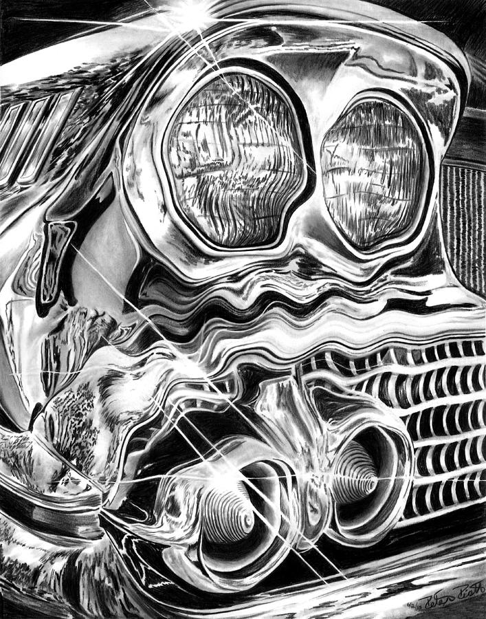 1958 Impala Beauty Within The Beast Drawing  - 1958 Impala Beauty Within The Beast Fine Art Print