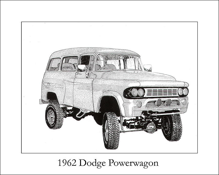 1962 Dodge Powerwagon Drawing  - 1962 Dodge Powerwagon Fine Art Print