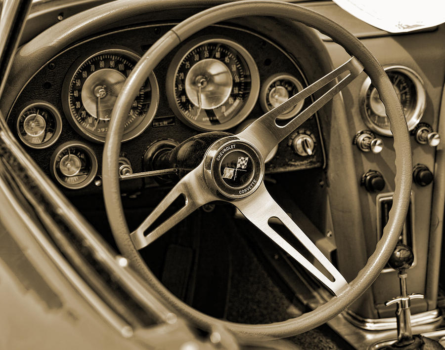 1963 Chevrolet Corvette Steering Wheel - Sepia Photograph  - 1963 Chevrolet Corvette Steering Wheel - Sepia Fine Art Print