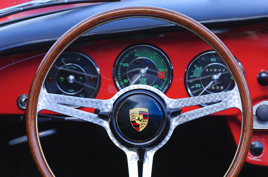 1964 Porsche C Steering Wheel Photograph  - 1964 Porsche C Steering Wheel Fine Art Print