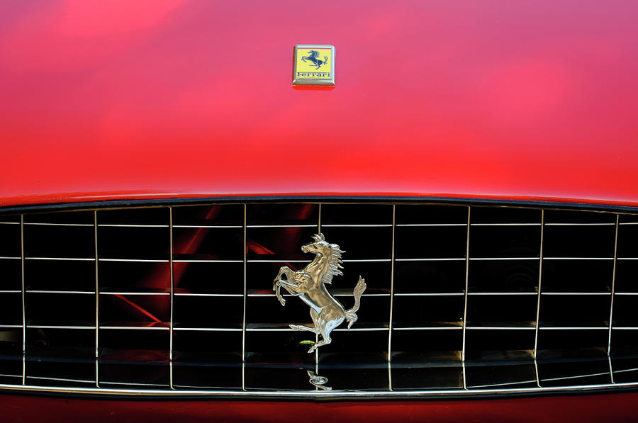 1966 Ferrari 330 Gtc Coupe Hood Ornament 2 Photograph  - 1966 Ferrari 330 Gtc Coupe Hood Ornament 2 Fine Art Print