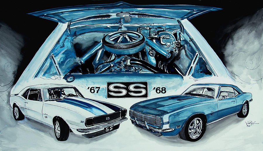 1967 1968 Chevy Camaro Ss Art Original Painting Painting  - 1967 1968 Chevy Camaro Ss Art Original Painting Fine Art Print