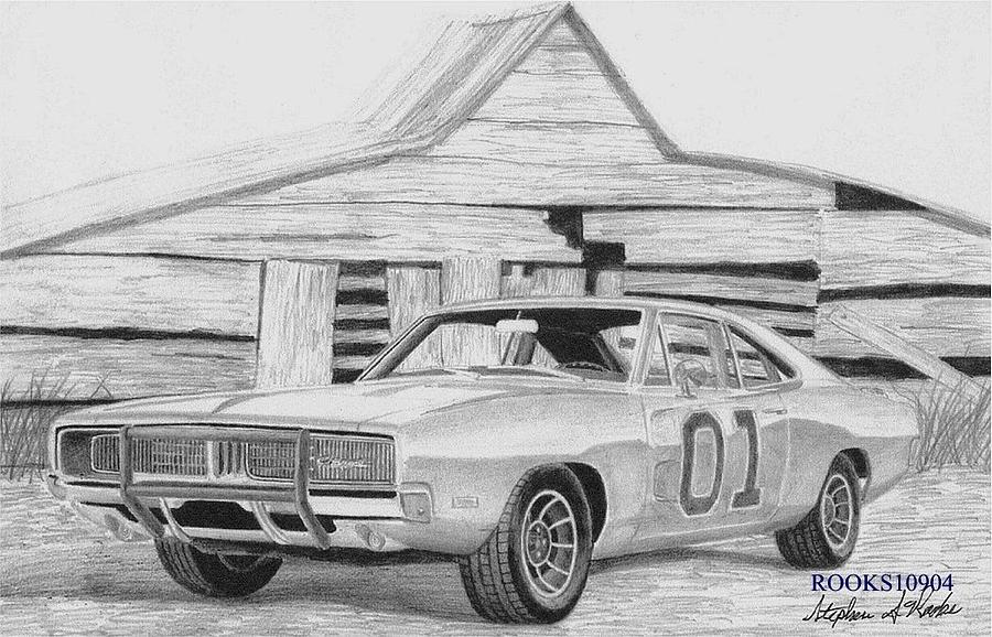 dukes of hazzard car coloring pages - general lee free coloring pages