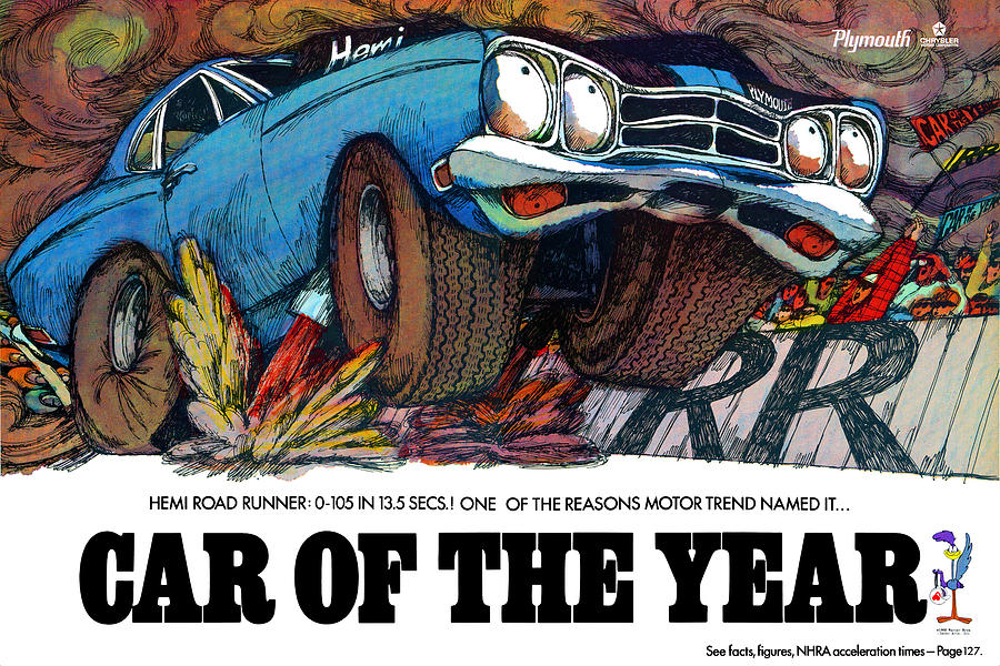 1969 plymouth road runner car of the year by digital repro depot