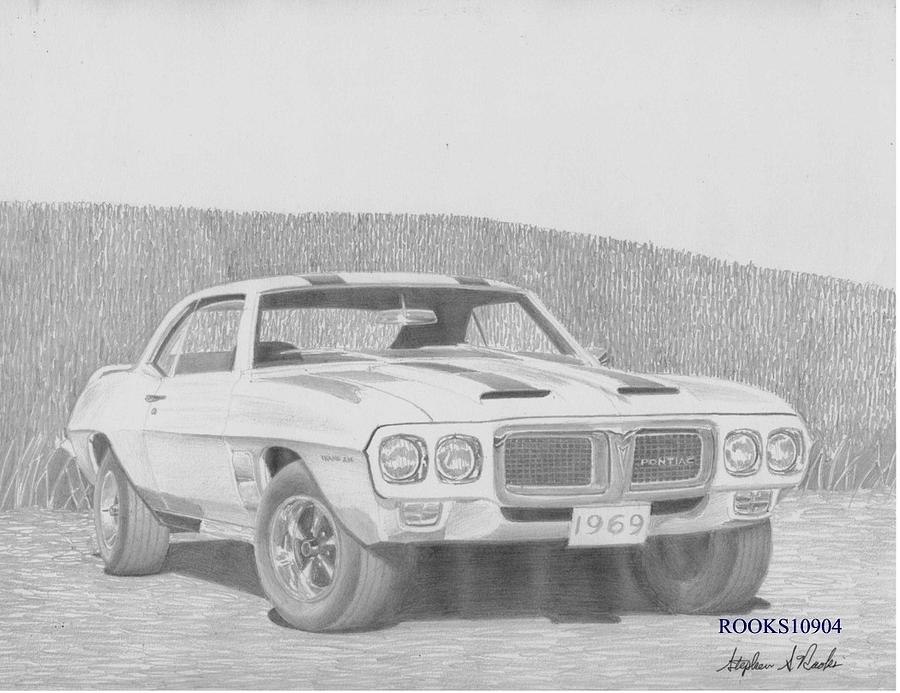 1969 Pontiac Trans Am Muscle Car Art Print Drawing