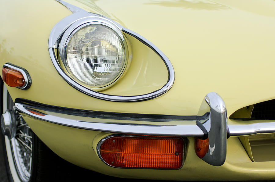 1970 Jaguar Xk Type-e Headlight Photograph  - 1970 Jaguar Xk Type-e Headlight Fine Art Print