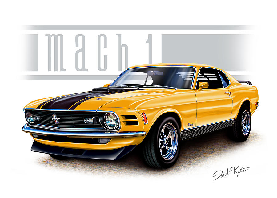1970 Mustang Mach 1 In Yellow Painting  - 1970 Mustang Mach 1 In Yellow Fine Art Print