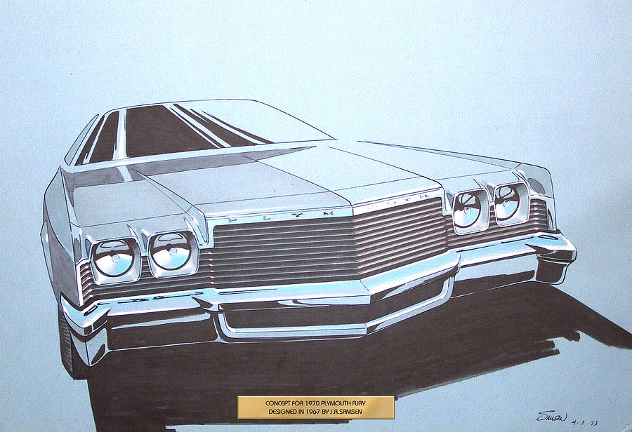 1970 Plymouth Fury  Vintage Styling Concept Design Sketch Drawing  - 1970 Plymouth Fury  Vintage Styling Concept Design Sketch Fine Art Print