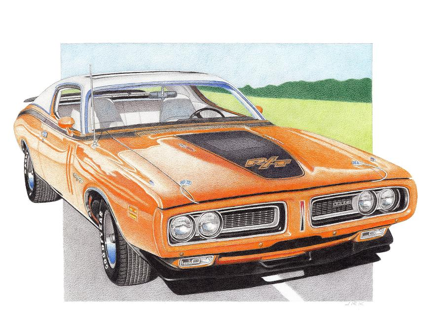 1971 Dodge Charger Rt Drawing  - 1971 Dodge Charger Rt Fine Art Print
