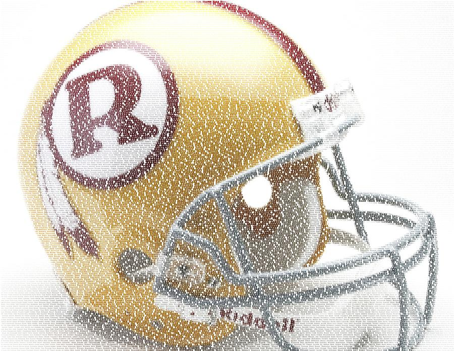 1971 Redskins Helmet Greatest Players Mosaic Digital Art  - 1971 Redskins Helmet Greatest Players Mosaic Fine Art Print