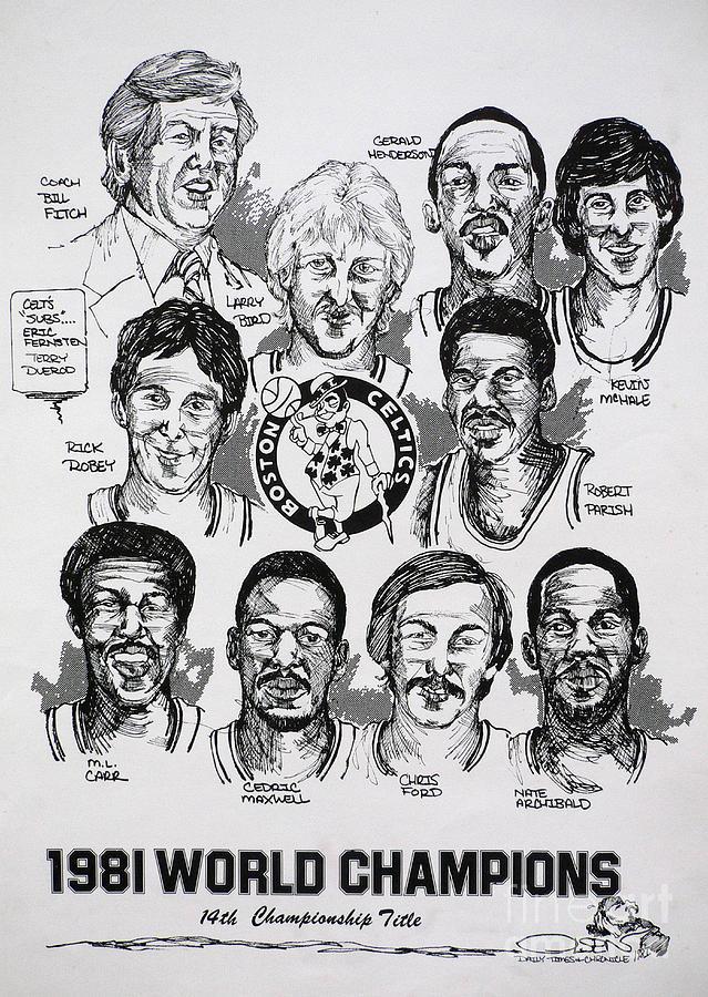 1981 Boston Celtics Championship Newspaper Poster Drawing