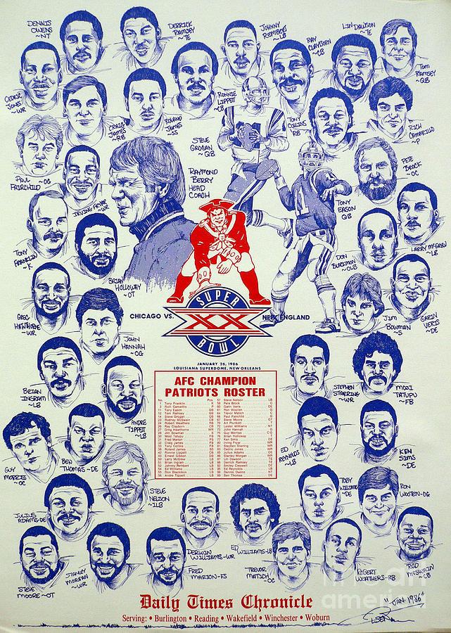 New england patriots 1985 super bowl roster sheet