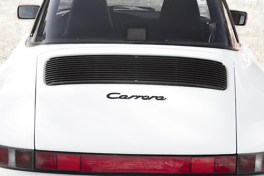 1987 White Porsche 911 Carrera Back Photograph  - 1987 White Porsche 911 Carrera Back Fine Art Print