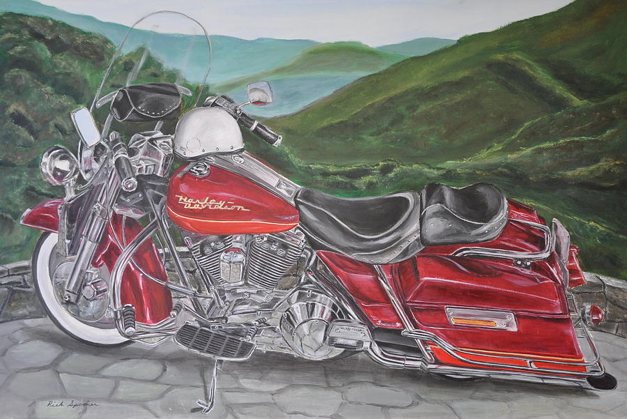 1995 Harley Road King Painting  - 1995 Harley Road King Fine Art Print